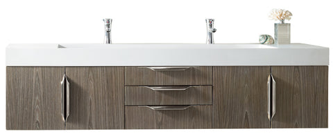 "72"" Mercer Island Double Sink Bathroom Vanity, Ash Gray"
