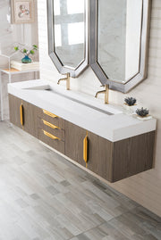 "72"" Mercer Island Double Sink Bathroom Vanity, Ash Gray w/ Radiant Gold"