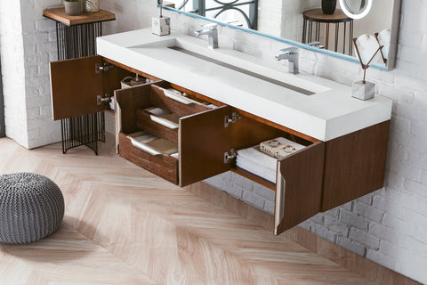 "72"" Mercer Island Double Sink Bathroom Vanity, Coffee Oak"