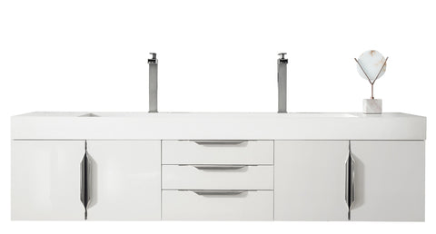 "72"" Mercer Island Double Sink Bathroom Vanity, Glossy White"