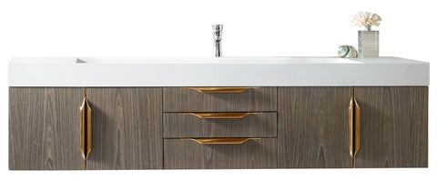 "72"" Mercer Island Single Sink Bathroom Vanity, Ash Gray w/ Radiant Gold"
