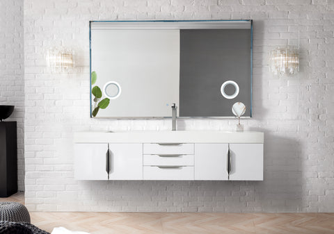 "72"" Mercer Island Single Sink Bathroom Vanity, Glossy White"