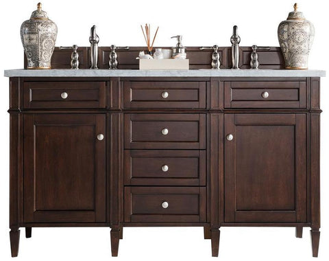 "60"" Brittany Double Bathroom Vanity Burnished Mahogany, James Martin Vanities - vanitiesdepot.com"