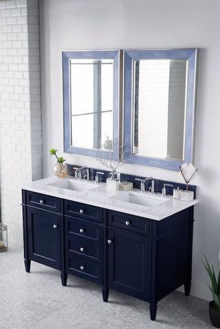 "60"" Brittany Double Bathroom Vanity, Victory Blue"