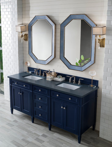 "72"" Brittany Double Bathroom Vanity, Victory Blue"
