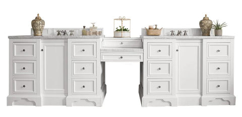 "118"" De Soto Bright White Double Sink Bathroom Vanity"