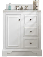 "30"" De Soto Bright White Single Sink Bathroom Vanity, James Martin Vanities - vanitiesdepot.com"