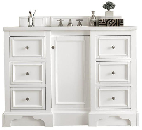"48"" De Soto Bright White Single Sink Bathroom Vanity, James Martin Vanities - vanitiesdepot.com"