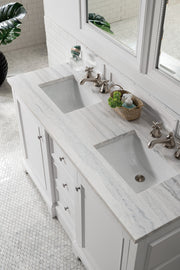 "60"" De Soto Double Sink Bathroom Vanity, Bright White"