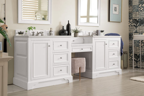 "94"" De Soto Bright White Double Sink Bathroom Vanity, James Martin Vanities - vanitiesdepot.com"