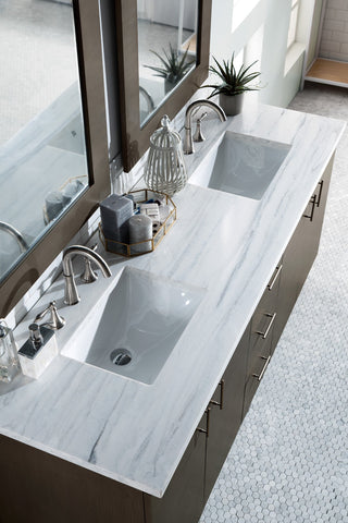 "72"" Metropolitan Silver Oak Double Sink Bathroom Vanity, James Martin Vanities - vanitiesdepot.com"