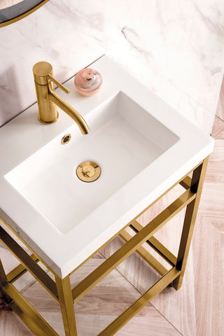 "20"" Boston Stainless Steel Sink Console, Radiant Gold w/ Countertop"