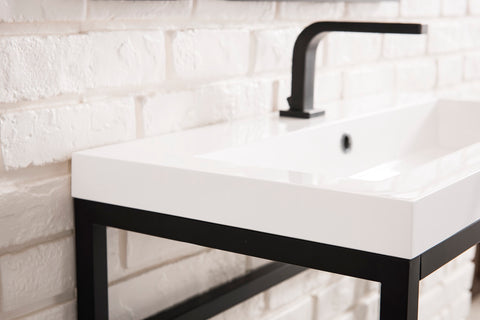 "31.5"" Boston Stainless Steel Sink Console, Matte Black w/ Countertop"