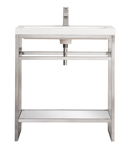 "31.5"" Boston Stainless Steel Sink Console, Brushed Nickel w/ Countertop"