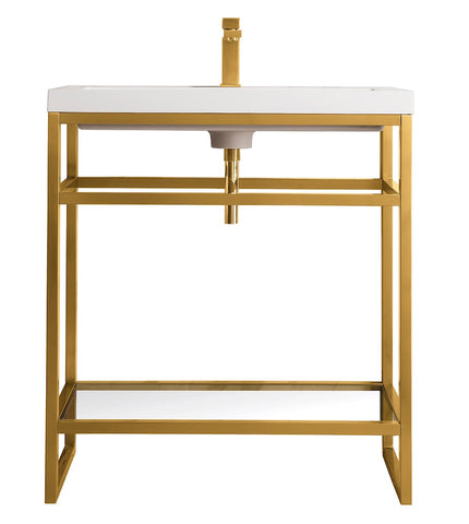 "31.5"" Boston Stainless Steel Sink Console, Radiant Gold w/ Countertop"