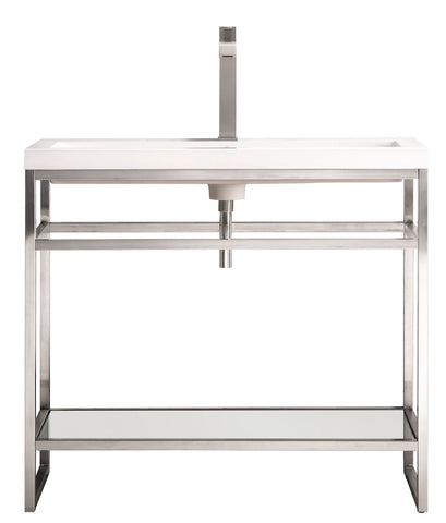 "39.5"" Boston Stainless Steel Sink Console, Brushed Nickel w/ Countertop"