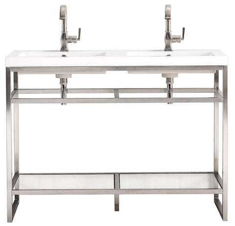 "47"" Boston Stainless Steel Double Sink Console, Brushed Nickel w/ Countertop"
