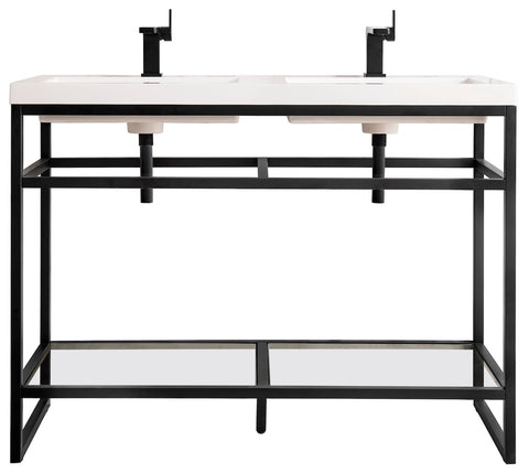 "47"" Boston Stainless Steel Double Sink Console, Matte Black w/ Countertop"