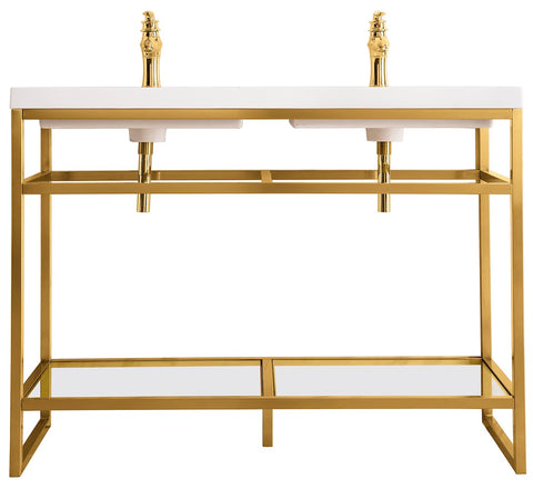 "47"" Boston Stainless Steel Double Sink Console, Radiant Gold w/ Countertop"