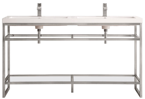 "63"" Boston Stainless Steel Double Sink Console, Brushed Nickel w/ Countertop"