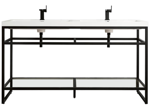 "63"" Boston Stainless Steel Double Sink Console, Matte Black w/ Countertop"