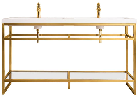 "63"" Boston Stainless Steel Double Sink Console, Radiant Gold w/ Countertop"