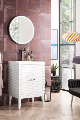 "24"" Linden Single Sink Bathroom Vanity, Glossy White w/ Top"