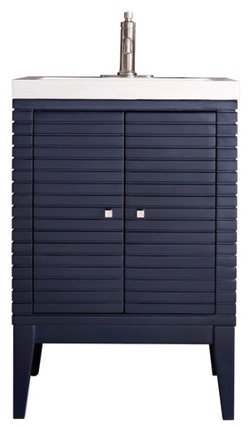 "24"" Linden Single Sink Bathroom Vanity, Navy Blue w/ Top"