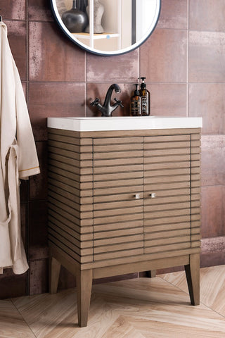 "24"" Linden Single Sink Bathroom Vanity, Whitewashed Walnut w/ Countertop"