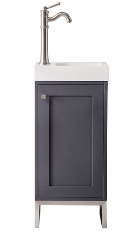 "16"" Chianti Single Sink Bathroom Vanity, Mineral Grey, Brushed Nickel w/ Countertop"