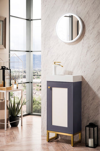 "16"" Chianti Single Sink Bathroom Vanity, Mineral Grey, Radiant Gold w/ Countertop"