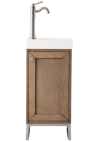 "16"" Chianti Single Sink Bathroom Vanity, Whitewashed Walnut, Brushed Nickel w/ Countertop"