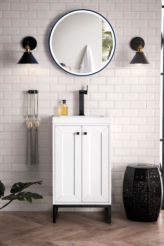 "20"" Chianti Single Sink Bathroom Vanity, Glossy White, Matte Black w/ Countertop"
