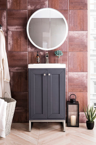 "20"" Chianti Single Sink Bathroom Vanity, Mineral Grey, Brushed Nickel w/ Countertop"