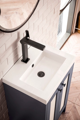 "20"" Chianti Single Sink Bathroom Vanity, Mineral Grey, Matte Black w/ Countertop"