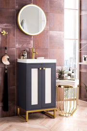 "20"" Chianti Single Sink Bathroom Vanity, Mineral Grey, Radiant Gold w/ Countertop"