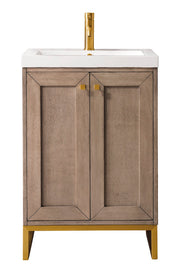 "20"" Chianti Single Sink Bathroom Vanity, Whitewashed Walnut, Radiant Gold w/ Countertop"