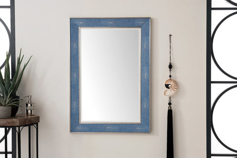 "Element 28"" Mirror, Silver w/ Delft Blue"