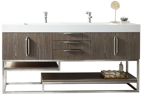 "72"" Columbia Double Sink Bathroom Vanity, Ash Gray"