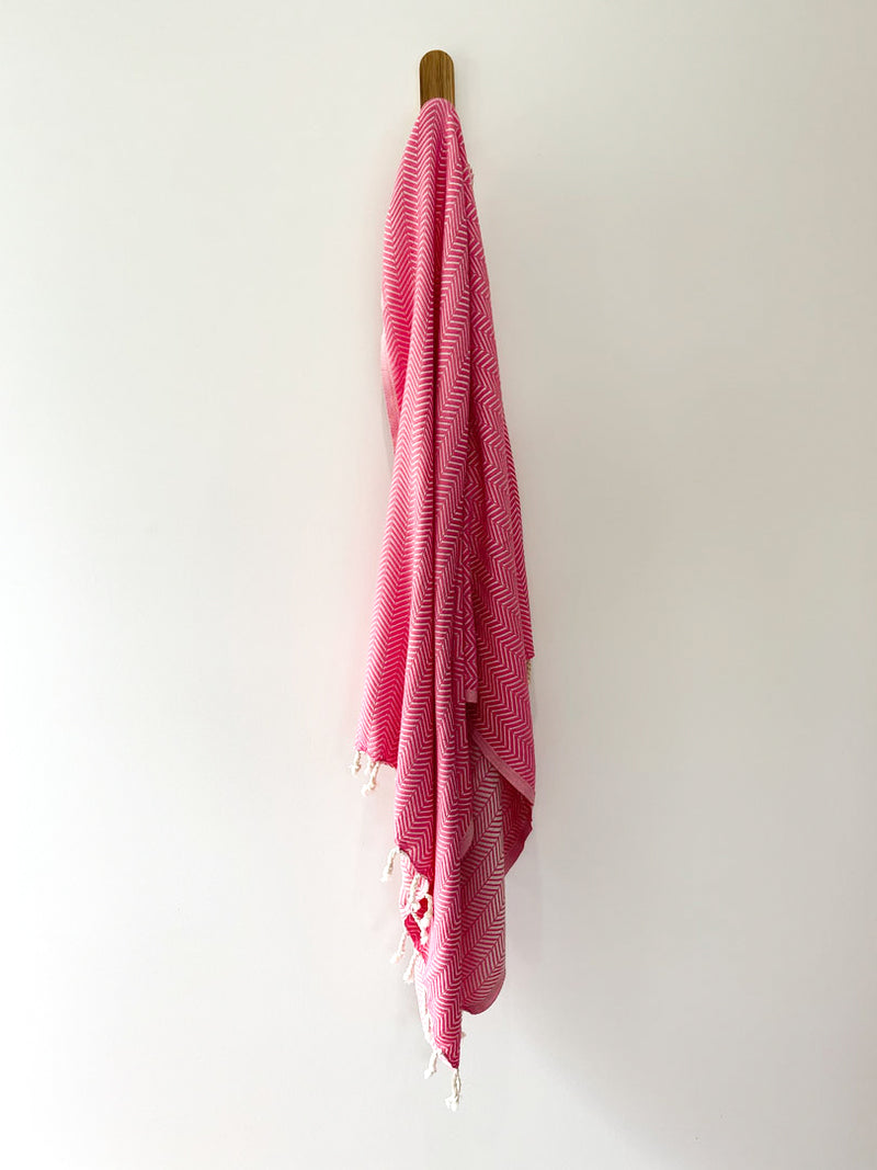 turkish towel seven seas Australia chevron fuschia