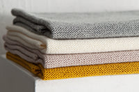 handmade grey white mustard and lavendel merino wool baby blankets in Simple Soft design by Pure Simple Chic puresimplechic