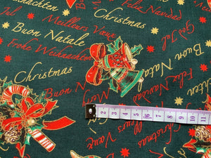 "Bottle Green Christmas Bells Fabric Merry Xmas Craft Fabric - Width 138cm/54"" - Kims Crafty Corner"