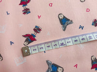 Roald Dahl Matilda Fabric, Pink Cotton Fabric, Nursery Fabric, Little Girls Room