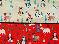 "Red Pale Pink Penguins North Pole Xmas Fabric Christmas Cotton Fabric 44"" Wide - Kims Crafty Corner"