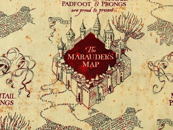 Harry Potter Fabric Beige Marauders Map Cotton Fabric Quilting Craft Cotton