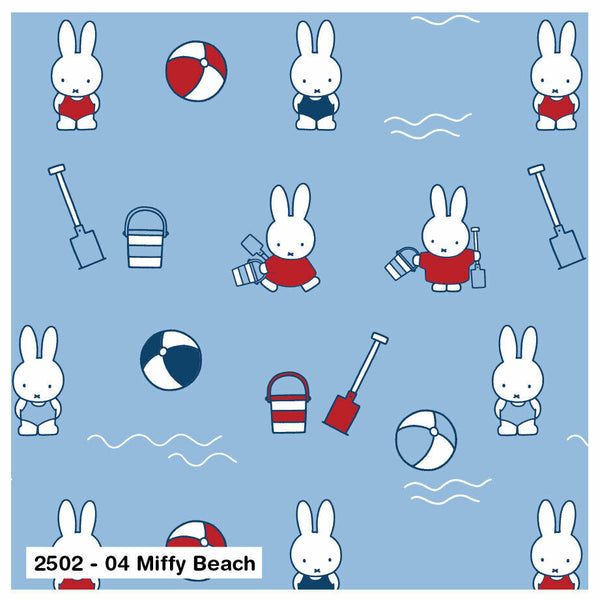 Nursery Fabric Miffy Blue Beach Rabbits Cotton Fabric - Width Approx 112cm/44""