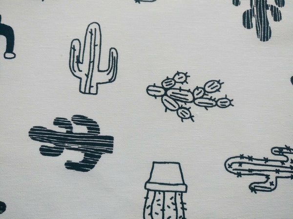 White Black Cactus Fabric White Cotton Canvas Heavy / Medium Upholstery Fabric
