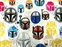 Star Wars Mandalorian Fabric Cotton Fabric Craft Cotton Disney Fabric Helmets