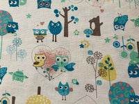 Woodland Fabric Blue Bird Owls Cotton Canvas Fabric Upholstery Tree Fabric - Kims Crafty Corner