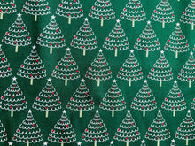 "Load image into Gallery viewer, Blue Emerald Green Xmas Trees Fabric Christmas Cotton Fabric 60"" Wide - Kims Crafty Corner"
